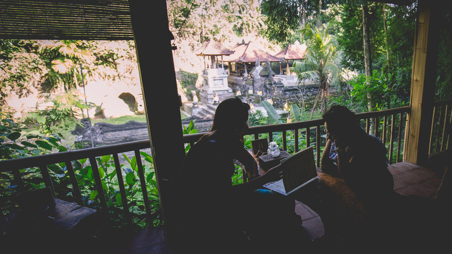 Balinese Teahouse overlook point Casual Clothing Day Growth Leisure Activity Lifestyles Natural Setting Overlooking View Rustic Silouette And Shadows Traditional Finding New Frontiers The Traveler - 2018 EyeEm Awards Human Connection