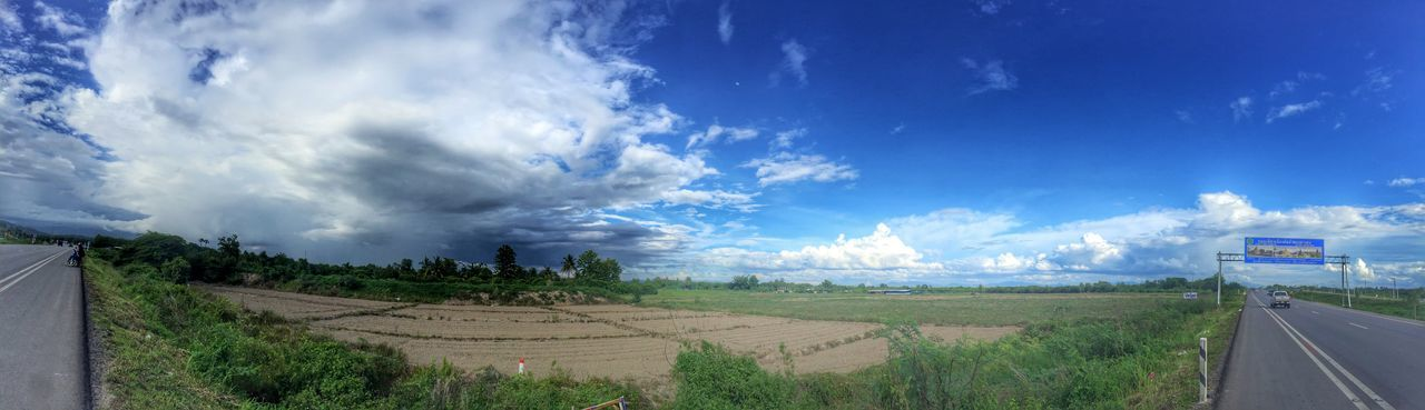 Beauty In Nature Blue Cloud Cloud - Sky Cloudy Country Road Day Field Grass Horizon Over Land Landscape Nature No People Non-urban Scene Outdoors Panorama Panoramic Photography Remote Road Rural Scene Scenics Sky The Way Forward Tranquil Scene Tranquility