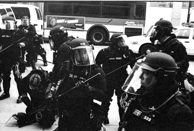 Protests at the 2008 Democratic National Convention (DNC) 2008 Democratic National Convention Black & White Film Protest Adult Adults Only Black And White Black And White Photography Blackandwhite Blackandwhite Photography Civil Disturbance Day Film Photography Helmet Men Occupation Outdoors People Police Force Protesters Real People Snow Teamwork Tri-x 400 Pushed Uniform