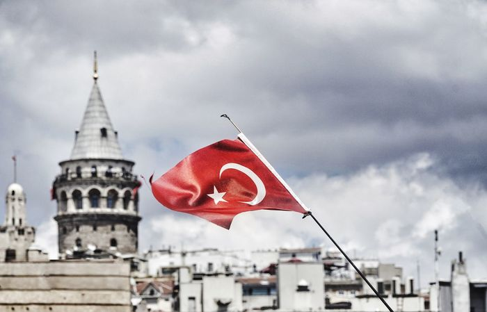 Flag Sky Patriotism Cloud - Sky Building Exterior Day Red Built Structure No People City Tower Galata Tower Galatatower Landmark Istanbul Turkey Flags In The Wind  Turkish Turkishflag