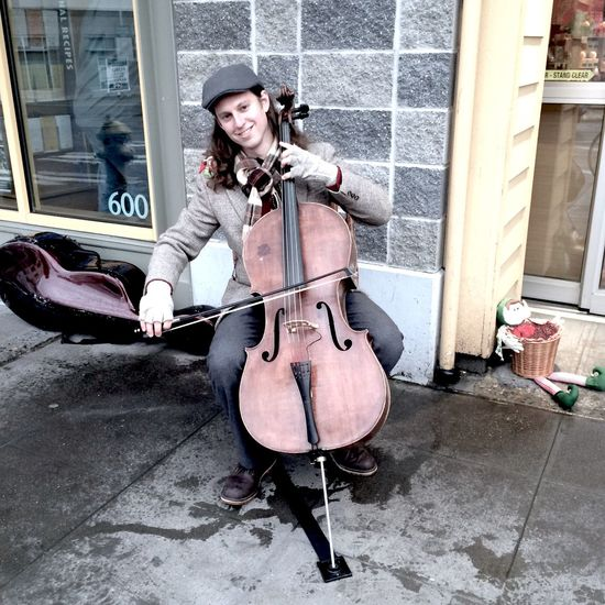 Snap A Stranger Xmas Winter Looking At Camera Musical Instrument Seattle USA