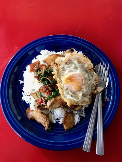 Pad kraproa Thai Food Food Ready-to-eat Food And Drink Healthy Eating Directly Above Plate Freshness Egg High Angle View Fried No People Meal Still Life