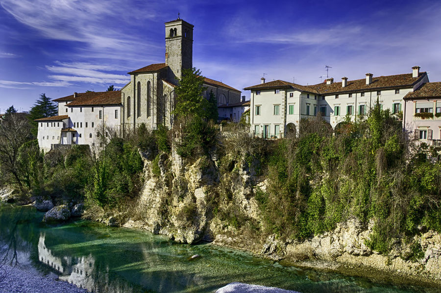 View of borgo Cividale from its bridge. Old Italian small village Architecture Basilica Cathedral City Nature Scenic Tranquil Udine View Architecture Borgo Bridge Cividale Friuli Historic Italian Italy Landscape Old Outdoors River Scenery Town Valley Village