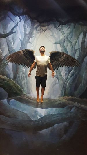 One Person One Man Only Portrait S6photography Mobilephotography Mobile Photography 3-D Art Optical Illusion 3D Art Museum Chiang Mai | Thailand Thailand Black Wings Wings Angel Or Devil? Art In Paradise Musuem
