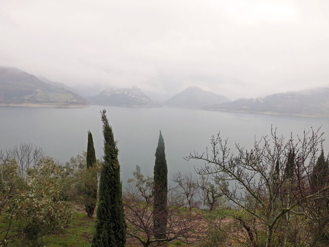 Fog Lago Del Turano Lake Landscape Mist Scenics Tranquil Scene Tranquility