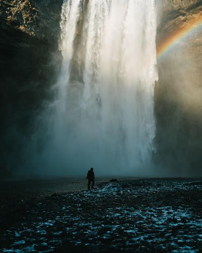 Motion Water Waterfall Scenics Beauty In Nature Real People Nature Rainbow Long Exposure Power In Nature Outdoors Spraying Day Travel Destinations Full Length Two People Men People Iceland TheWeekOnEyeEM