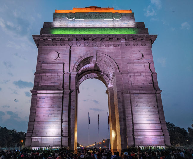 India Gate Evening Lighting Colorful City Politics And Government History Sky Architecture Gate Historic Building Historic