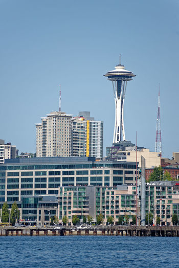 Elliott Bay Seattle Seattle, Washington Space Needle Space Needle Seattle WA. Architecture Building Exterior Built Structure City Cityscape Clear Sky Day Modern Nature Nautical Vessel No People Outdoors Sea Sky Skyscraper Tower Travel Destinations Urban Skyline Water