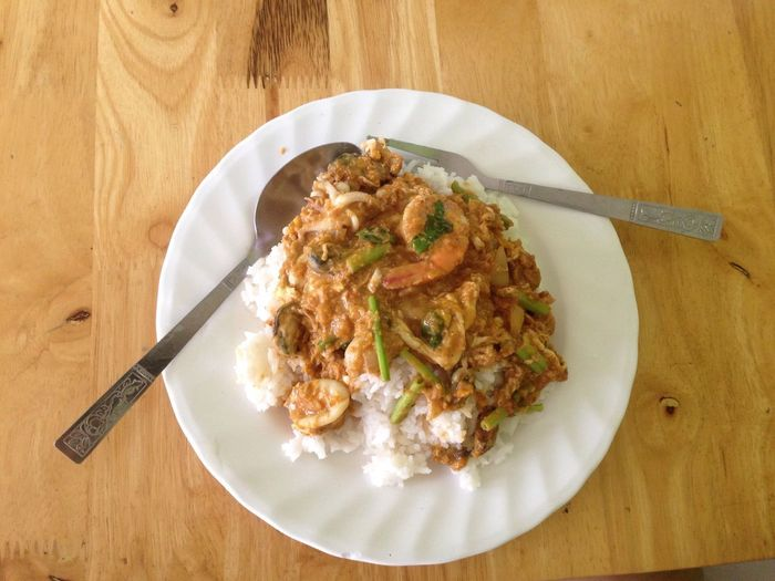 Rice & fried crab in yellow curry Thaifood Currypowder Rice Paddy Food Food And Drink Plate Freshness Table Ready-to-eat Kitchen Utensil No People Eating Utensil