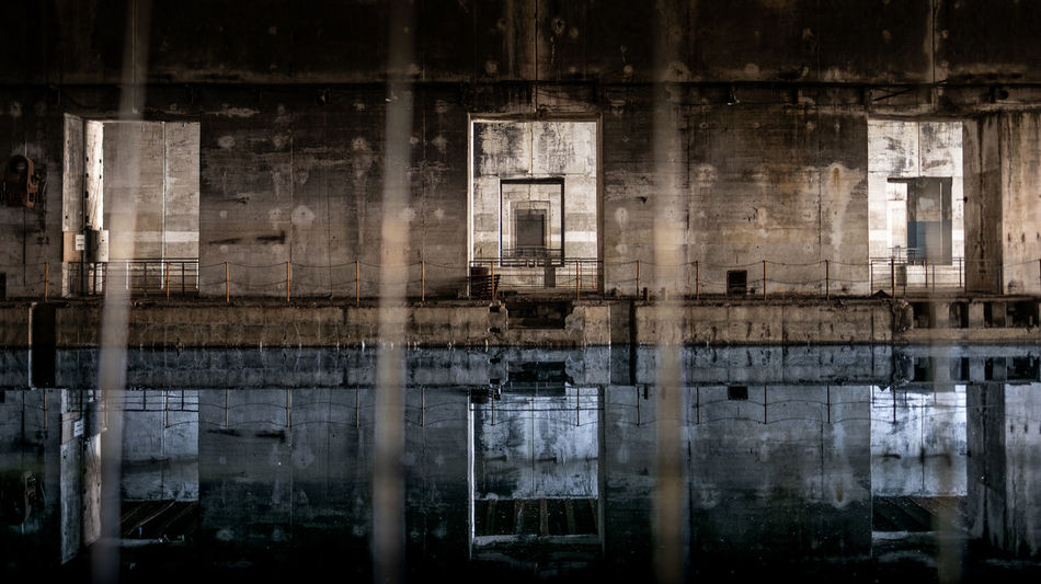 Inside the old submarine base of Bordeaux, France. Abandoned Places Architecture Base Bordeaux Bunker City France Lost Mirror Reflection Travel Travel Photography World War 2 Abandoned Concrete Fujifilm Fujifilm_xseries History Lostplaces Second World War Street Street Photography Streetphotography Submarine Water