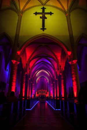 Kronach leuchtet Kronach Leuchtet Aisle Arch Arched Architectural Column Architecture Belief Building Built Structure Ceiling Diminishing Perspective Illuminated In A Row Indoors  Lighting Equipment Pew Place Of Worship Purple Religion Spirituality The Way Forward