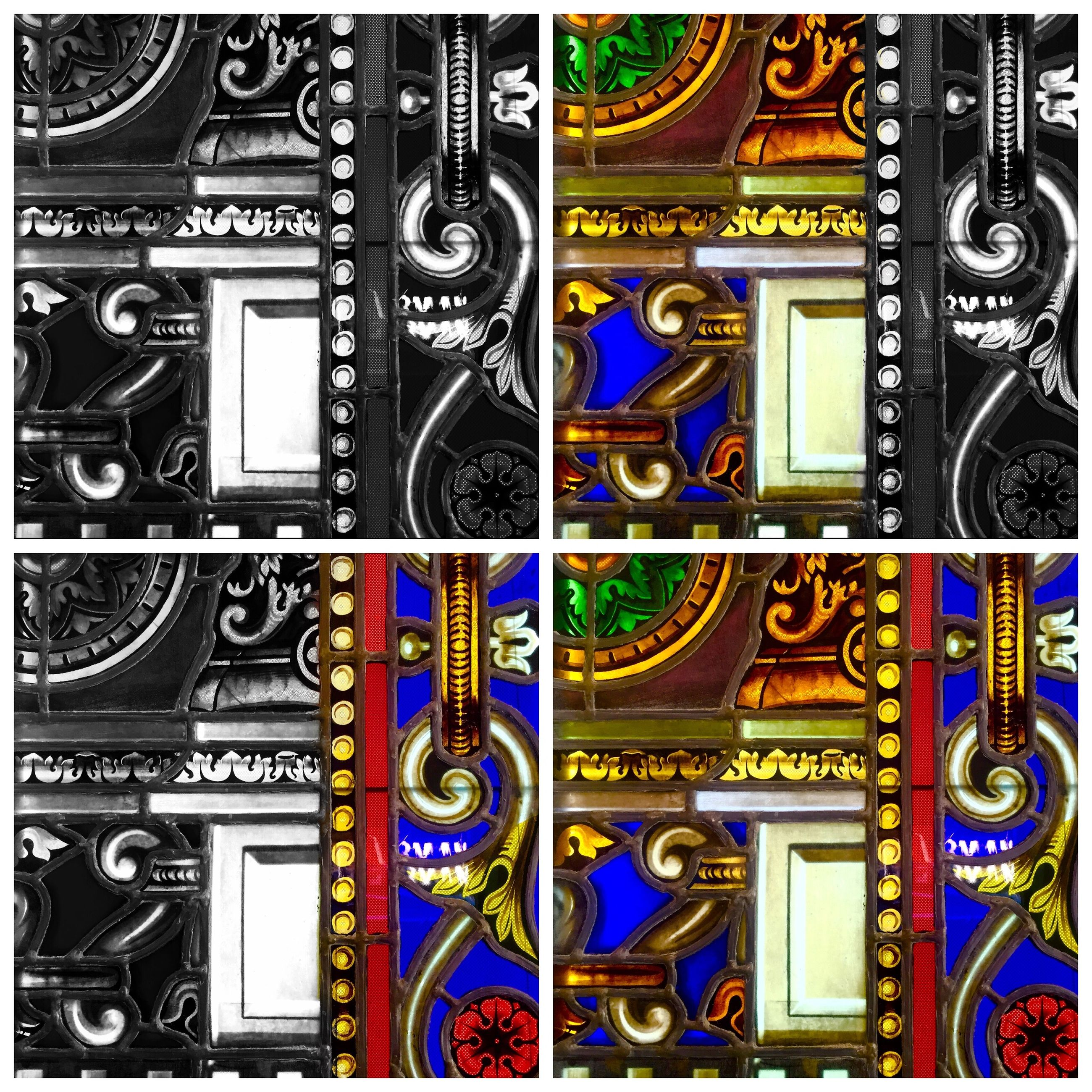 transfer print, architecture, building exterior, art and craft, built structure, design, ornate, art, auto post production filter, creativity, pattern, multi colored, religion, no people, carving - craft product, low angle view, backgrounds, blue, full frame, day