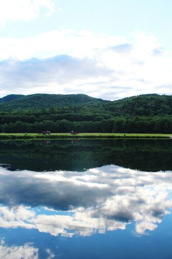 Camping Pond Mountains Clouds And Sky Reflections Landscape Escaping Peaceful