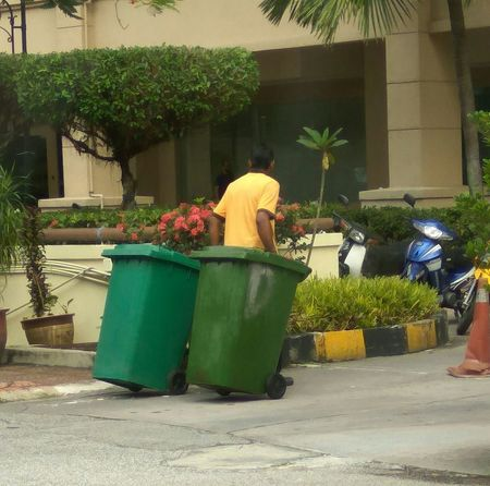 Outdoors Green Color Day Adult The Week Of Eyeem EyeEm Best Shots EyeEm Vision Manual Worker Garbage Bin Garbage Collection Hard At Work! Trash Bin