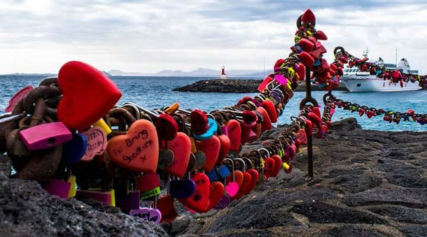 Locks Of Love In A Row Sea Red Water Cloud - Sky Beach Outdoors