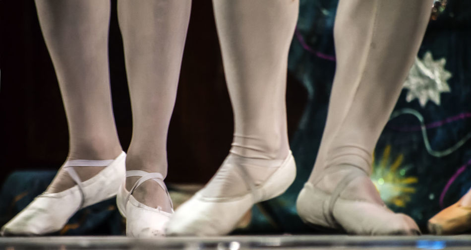 Low section of ballet dancers standing on tiptoe