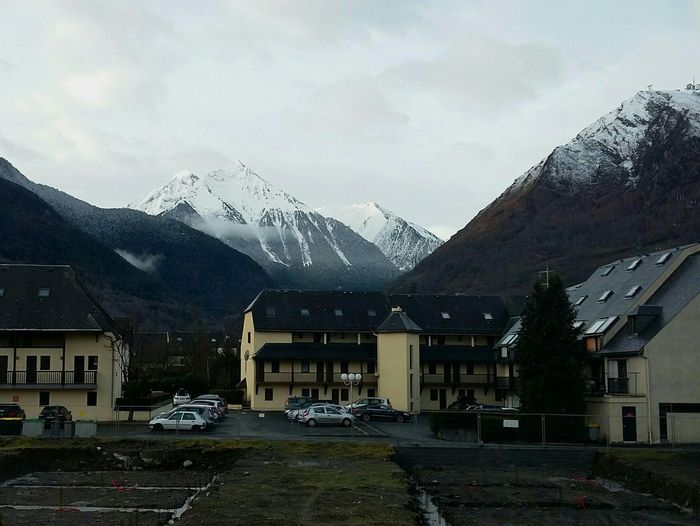 In the Pyrenees. · France Mountains Landscape View Hotel Snow Gray Sky Traveling