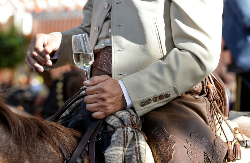 Rider on horseback dressed in traditional costume and holding glass of white wine . seville fair