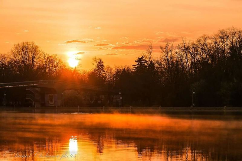 Morning Sunrise Reflection Orange Color Tranquility Beauty In Nature Outdoors Rowing Channel Plovdiv Bulgaria EyeEmNewHere