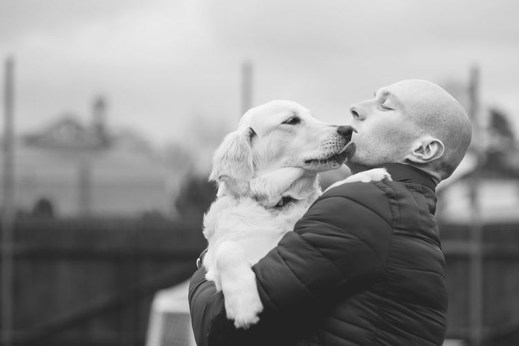 Animal Black And White Blackandwhite Dog Domestic Animals Friend Friendship Gold Golden Retriever Kiss Love Men One Animal Outdoors Owner People Pets Portrait Puppy Welcome To Black TCPM