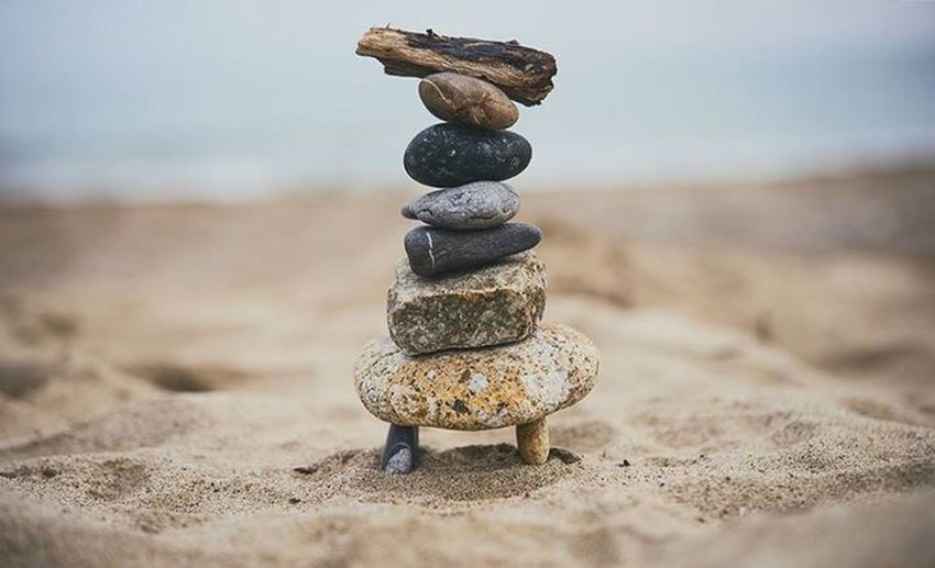 Stack of pebbles on beach