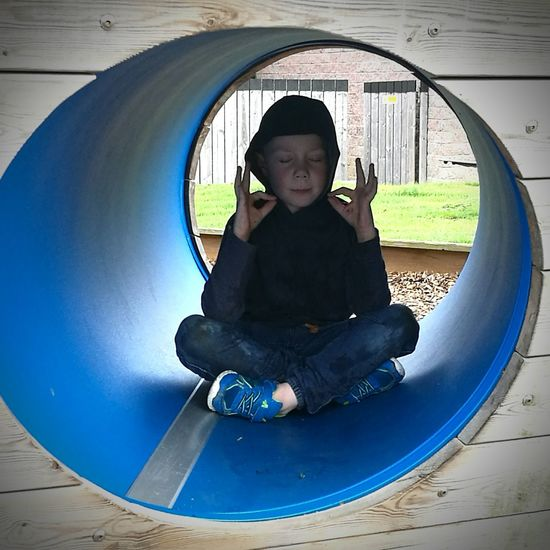 Quiet Austism Safe Space Meditation Peaceful Child Childhood Full Length Males  Boys Sitting Playing Outdoor Play Equipment Jungle Gym Preschool Slide - Play Equipment Hood - Clothing