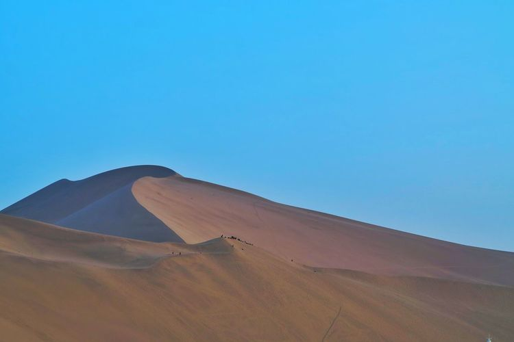 Sand Dune Nature Desert Sand HillLandscape Beauty In Nature Outdoors Arid ClimateEnvironment Blue Sky Gobi Desert China Desert Day Scenics Clear Sky Accidents And Disasters Blue Sky No People Nature Reserve Beauty In Nature Beautiful Nature Hot