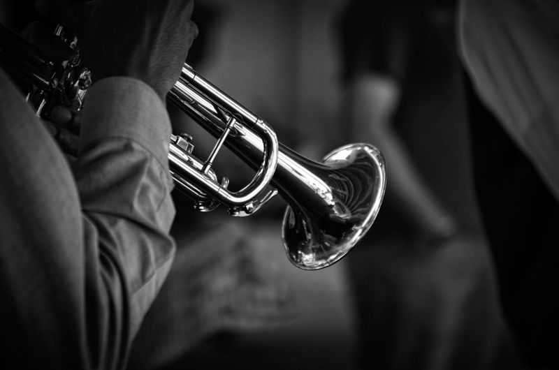 Close-up Cropped Focus On Foreground Holding Instrument Instruments Jazz Leisure Activity Lifestyles Music Part Of Skill  Trumpet Trumpeter Unrecognizable Person