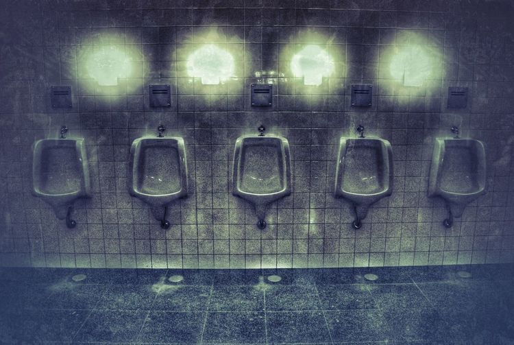 Toilets Urinoirs The 5 Stooges Restroom Dirty Urine Town Grimy Dark And Gritty Dark And Mysterious Dark And Creepy Disgust Relief Release Finding New Frontiers