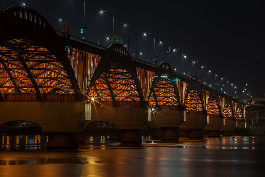 Architectural Column Architecture Bridge - Man Made Structure Built Structure City City Life Engineering Han River Hangang Illuminated Modern Night Night View No People Outdoors River Seongsandaegyo Sky Tranquility Travel Destinations Water