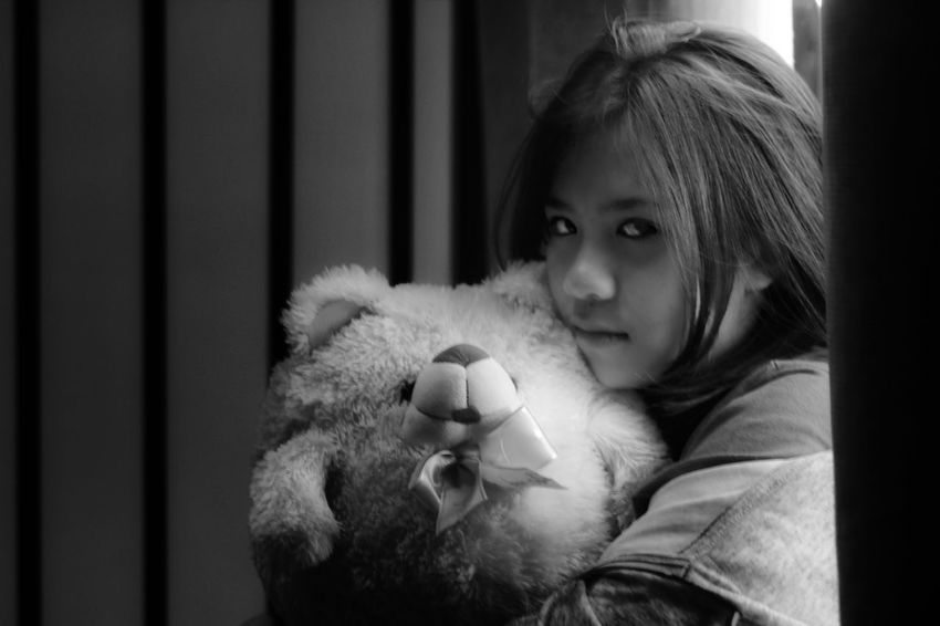 """emotion"" 5/7 Monochrome EyeEm Best Shots EyeEm Gallery EyeEm Best Shots - Black + White EyeEmBestPics EyeEm Young Adult Young Women Black And White Blackandwhite Black & White Women Young Adult Young Women Portrait One Girl Only Stuffed Toy Girls Teddy Bear One Person Embracing Loneliness People Portrait Adult Indoors  Only Girls"