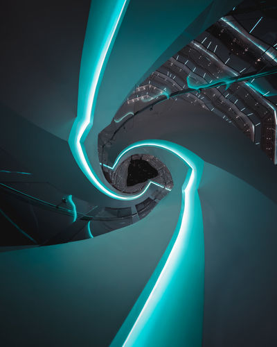 forever seeking new perspectives Architecture Lookup Staircase Abstract Future Nightphotography Spiral Staircase Spiral Swirl Twist Building Interior Design Travel Destinations No People Science Futuristic The Architect - 2018 EyeEm Awards HUAWEI Photo Award: After Dark Capture Tomorrow