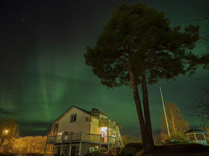 Aurora over Ånge, Sweden Aurora Borealis Northern Lights Trees Olympus OM-D E-M10 Mark II Nightphotography Nightshot Built Structure Building Exterior Sky Nature Residential District Beauty In Nature Night House