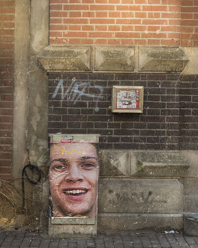 Portrait of smiling man against brick wall