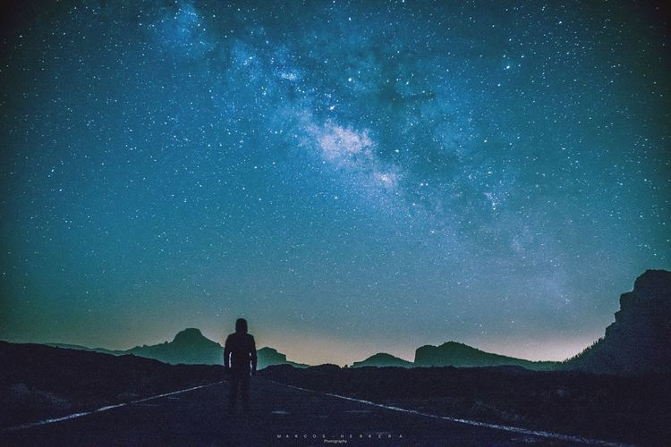 Follow stars Night Astronomy Galaxy Milky Way Sky Canary Islands Tenerife Landscape Nature Islas Canarias Teide National Park Canadas Del Teide