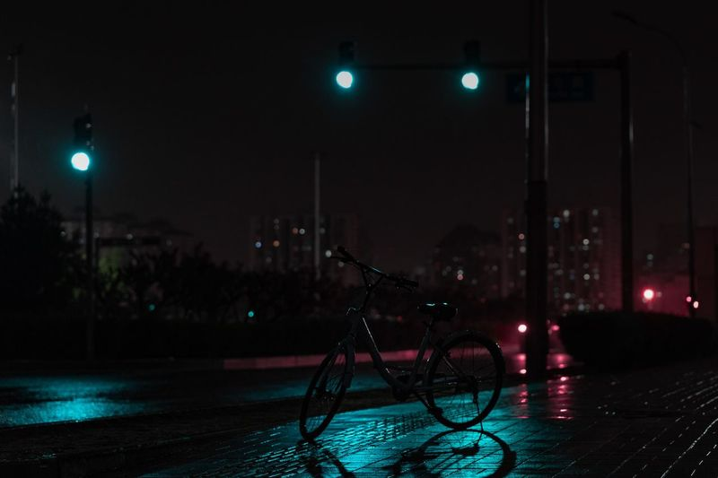 RAIN NIGHT Lighting Equipment No People Bicycle Dark Car Architecture Land Vehicle Motor Vehicle Light - Natural Phenomenon Nature Road Light