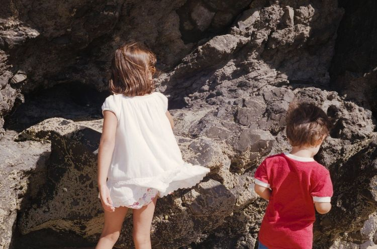 Unrecognizable Person Leisure Activity Children Childhood Kids Being Kids Kids Back View From Behind Two Is Better Than One Two Beach Rocks Outdoors Summer Film Photography 35mm Analogue Photography