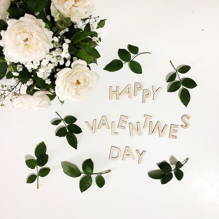 Valentine's Day Still Life David Austin Roses Valentine's Day  Valentine Flower Leaf Text Rose - Flower Plant Bouquet White Background Love Flower Head Freshness