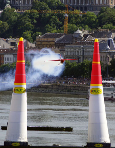 Red Bull Air Race Budapest 2017 Air Race Aircraft Architecture Building Exterior Built Structure City Communication Day Flight Guidance No People Outdoors Sky Traffic Cone Tree Water