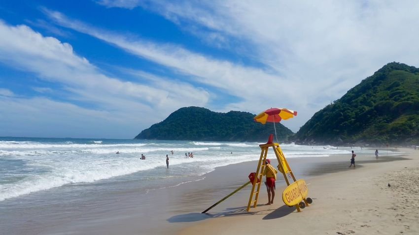 Guaruja Beach Scene Beach Beach Life Beauty In Nature Brasil Brazil Cloud - Sky Guarujá Holiday Horizon Over Water Lifeguard  Mountains Outdoors Praia Sand Scenics Sea South America Travel Vacations Vacations