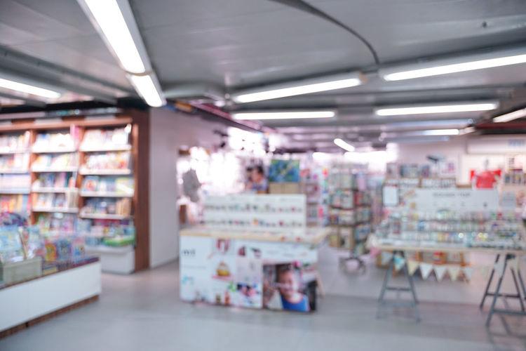 Interior of illuminated store
