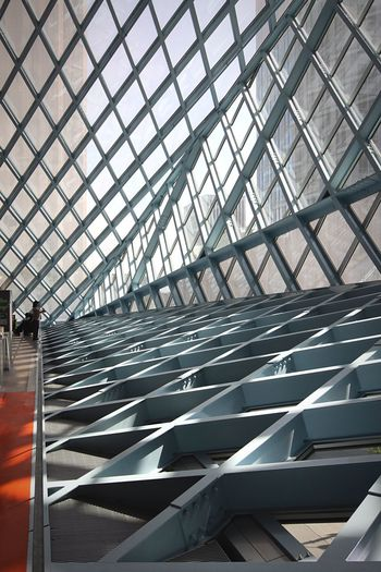 Architectureporn Library Architectural Feature Postwar Architecture Seattle Seattle Public Library Library Building Postmodern Architecture Architectural Detail Contemporary Rem Koolhaas Architecture Built Structure Indoors  Pattern Day Metal No People Ceiling Roof Building Glass - Material