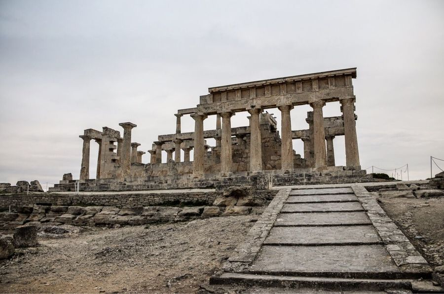 Cloudy day at The Temple of Aphaia on the island of Aegina. Old Ruin Ancient Ancient Civilization History Archaeology Architecture Built Structure The Past Sky Abandoned Travel Destinations Architectural Column Tourism Travel Outdoors Building Exterior Day Bad Condition No People EyeEmNewHere Exploretocreate Greek Islands Temple EyeEm Gallery Greece