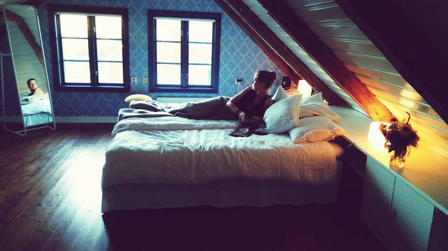 In her bedroom Thinking About Life Swedish Girl Bedroom Bedroom Window Bed Woman In Bed Mirror Reflection Sweden Nighttime Window Architecture Double Bed Bedtime Blanket Wrapped In A Blanket