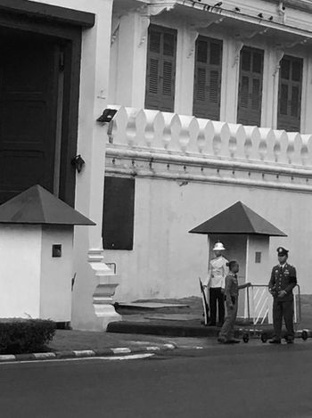Architecture Building Exterior Built Structure Day Grand Palace Bangkok Thailand Guard King Bhumipol Adulyadet One Person Outdoors Palace Guard People