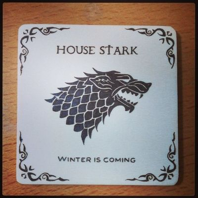 Winter is coming. Game of Thrones wood burned coaster. 1st of the set. Got