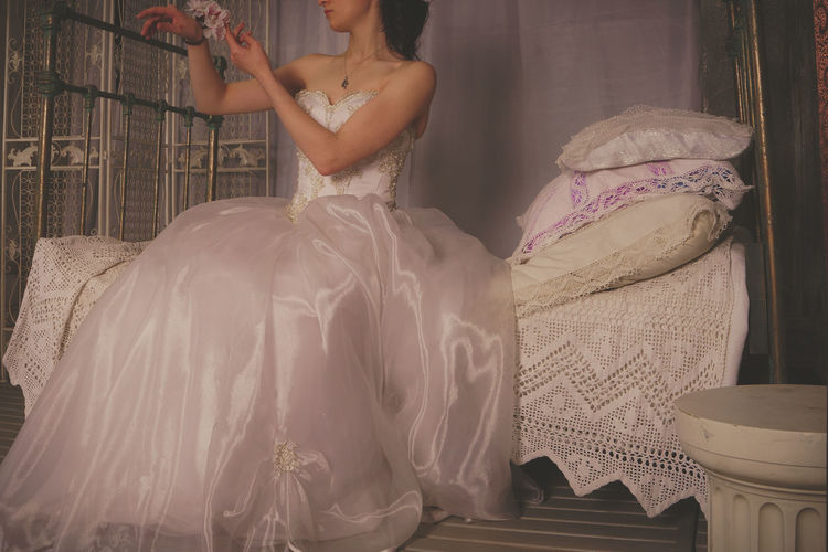 Bride Day Indoors  Life Events One Person Real People Standing Wedding Wedding Dress Women Young Adult Young Women
