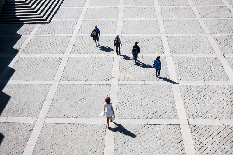 High angle view of people on walkway during sunny day