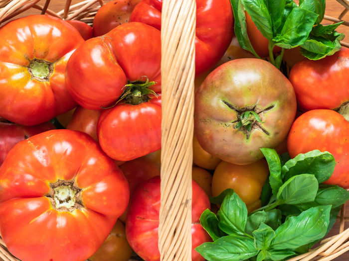 High angle view of tomatoes for sale