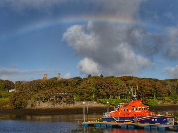 Water Sky Built Structure Building Exterior Architecture Day Nature Cloud - Sky No People Outdoors Nautical Vessel Waterfront Lake Beauty In Nature Tree Windmill Lifeboat Lifeboat RNLI Tranquil Scene Scenics Reflections In The Water Rainbow